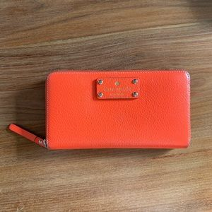 Neon orange/red Kate Spade wallet